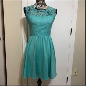 EUC Pinc Turquoise Lace Casual midi Dress